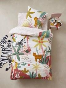 Conjunto capa de edredon + fronha de almofada para criança, tema Pink Jungle branco claro liso com motivo