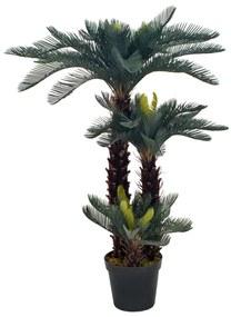 280186 vidaXL Palmeira cica artificial com vaso 125 cm verde