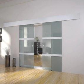 273735 vidaXL Portas deslizantes em vidro, 2 pcs