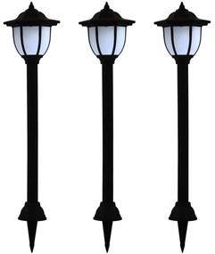 44471 vidaXL Candeeiro solar LED de exterior 3 pcs preto