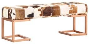 283752 vidaXL Banco 110 cm retalhos de couro de cabra genuíno castanho