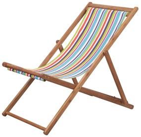 44002 vidaXL Cadeira de praia dobrável tecido estrutura madeira multicolor