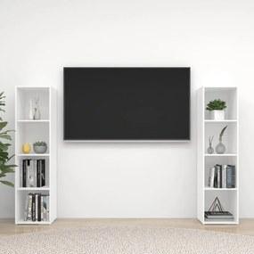3079922 vidaXL Móveis de TV 2 pcs 142,5x35x36,5 cm contrapl. branco brilhante