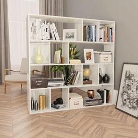 800366 vidaXL Divisória/estante 110x24x110 cm contraplacado branco brilhante