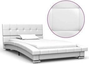 Estrutura de cama 200x90 cm couro artificial branco