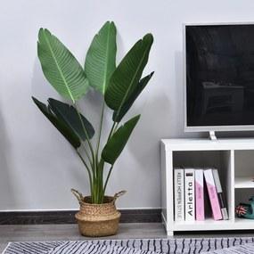 Outsunny Planta de Decoração artificial de Palma Árvore realista com vaso de flores 7 folhas Ф15x120cm para exterior e interior Não requer instalação