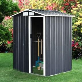 Outsunny Barração de jardim Metálico Armazém de ferramentas Telhado inclinado 4 ventilações 150x130x186cm cinza e branco