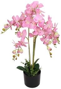 244426 vidaXL Planta orquídea artificial com vaso 75 cm rosa