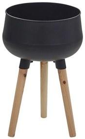 Suporte para vasos de metal e pernas de madeira 30 x 30 x 47 cm preto AGROS