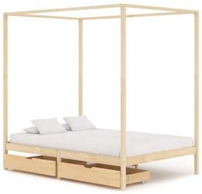 3060347 vidaXL Estrutura de cama p/ dossel c/ 2 gavetas 120x200cm pinho maciço