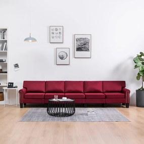 287188 vidaXL Sofá de 5 lugares em tecido vermelho tinto