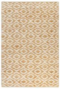 133209 vidaXL Tapete de juta tecido à mão 120x180 cm natural e branco