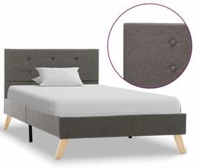 284835 vidaXL Estrutura de cama 100x200 cm tecido cinzento-acastanhado