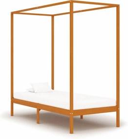 Estrutura de cama com toldo 100x200cm pinho maciço castanho mel