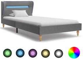 280597 vidaXL Estrutura de cama com LEDs 90x200 cm tecido cinzento-claro