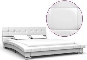 Estrutura de cama 200x120 cm couro artificial branco
