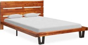 Estrutura de cama c/ aresta viva madeira de acácia maciça 120 cm