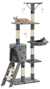 170579 vidaXL Árvore para gatos c/postes arranhadores sisal 138 cm cinzento