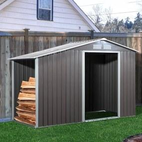 Outsunny Abrigo para lenha de aço galvanizado para armazenamento de ferramentas de jardim com telhado inclinado 127x71x143 / 159 cm cinza