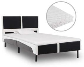 277530 vidaXL Cama com colchão 90x200 cm couro artificial preto e branco