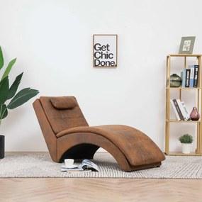 281342 vidaXL Chaise longue com almofada camurça artificial castanho