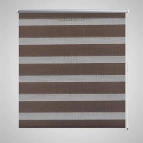 240225 vidaXL Estore de rolo 140 x 175 cm, linhas de zebra / Café
