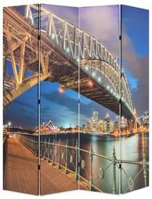 245866 vidaXL Biombo dobrável estampa da ponte do porto de Sydney 160x170 cm