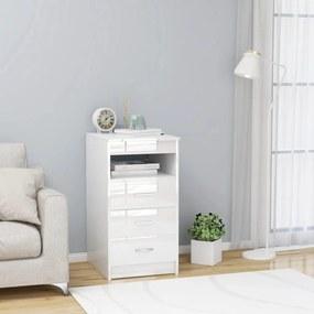 801811 vidaXL Armário com gavetas 40x50x76 cm contraplacado branco brilhante