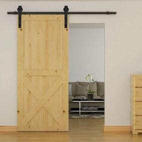 HOMCOM Conjunto de ferragens para porta deslizante dupla Suporta 90 kg 200 cm de comprimento Preto