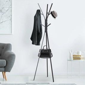 HOMCOM Cabide de pé Metálico para pendurar sacos roupa 9 ganchos com prateleira Forma de árvore Cabide Vintage 45x45x180cm