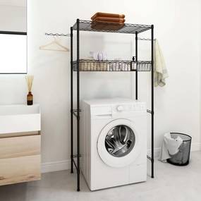 324643 vidaXL Estante de 2 prateleiras p/ lavandaria 75x35x150 cm prateado
