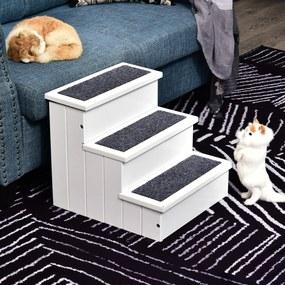 PawHut Escada para animais de estimação de 3 etapas com espaço de armazenamento e tapete antiderrapante portátil Madeira carga 30 kg 40,5x44,5x38 cm Branco