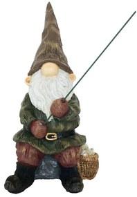 Esschert Design Gnomo com vara de pesca 12,3x16,6x25,6 cm