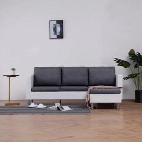 282203 vidaXL Sofá de 3 lugares com almofadões couro artificial branco