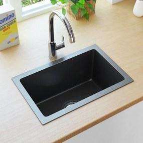145082 vidaXL Lava-louça de cozinha artesanal com ralo aço inoxidável preto