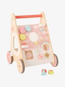 Carrinho de marcha, com travões, em madeira FSC® rosa claro liso com motivo