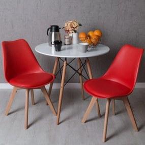 Conjunto Mesa Tower Redonda 80 cm Branca Tensores e Pack 2 Cadeiras Synk Pro