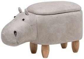 Tamborete em pele sintética cinzento claro HIPPO