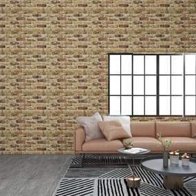 147202 vidaXL Painéis de parede 3D c/ design tijolos areia-escuro 11 pcs EPS