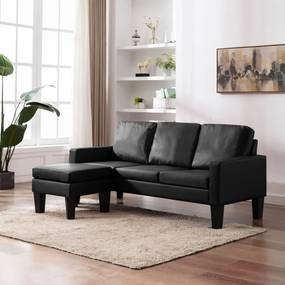 288767 vidaXL Sofá de 3 lugares com apoio de pés couro artificial preto