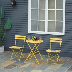 Outsunny Conjunto de móveis de jardim dobrável de 3 peças Mesa de metal e 2 cadeiras Ø60x71 cm amarelo