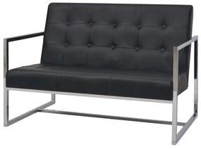 245527 vidaXL Sofá 2 lugares com apoio de braços couro artificial e aço preto