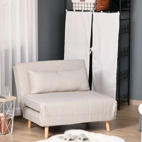 HOMCOM Sofá-cama estofado individual com almofada acolchoada e encosto ajustável em 3 posições Pernas dobráveis ocultas 95x95x80 cm Bege