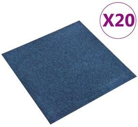 147315 vidaXL Ladrilhos carpete para pisos 20 pcs 5 m² 50x50 cm azul-escuro