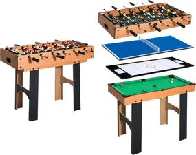 HomCom Mesa Multijogo 4 em 1 Inclui futebol mesa Air Hocker Ping-Pong e Bilhar – Jogo de Madeira – 87x43x73cm