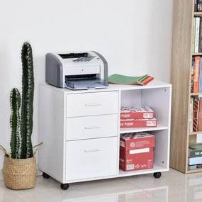 HOMCOM Suporte da impressora Escritório com 3 prateleiras reguláveis 80x40x65 cm Branco