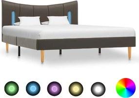288545 vidaXL Estrutura de cama c/ LED 120x200 cm couro artificial antracite
