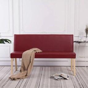Banco 139,5 cm couro artificial vermelho tinto