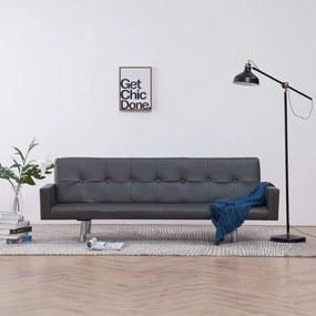 Sofá-cama com apoio de braços couro artificial cinzento