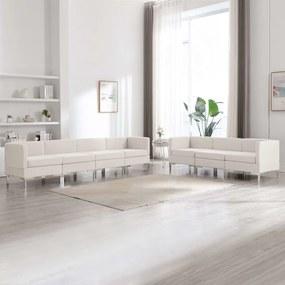 3052871 vidaXL 7 pcs conjunto de sofás tecido cor creme